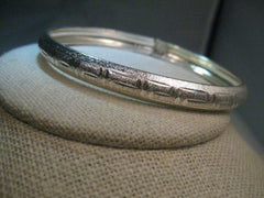 "Sterling Greek Key Bangle Bracelet, with Hinged Lock,  7"", 10.39 Gr. signed FAS"