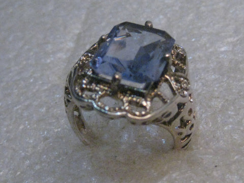 Silver Blue Topaz Filigree Ring, Vintage Design, Size 8.5, 6.73gr.
