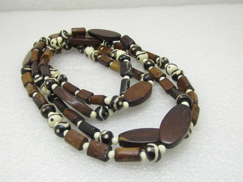 Vintage Tribal Brown & White Stone Necklace, 54""