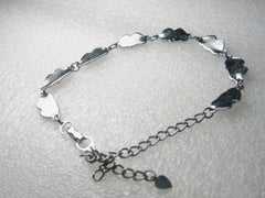"Silver tone Enameled Double Heart Ankle Bracelet, 10"" with 1"" chain & heart charm"
