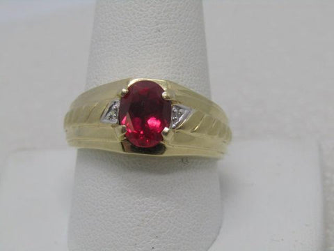 Vintage 10kt Created Ruby Men's Ring, Diamond Accents, Size 11, Signed SHR, Size 11, Mid-Century