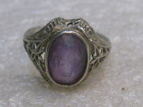 18kt Gold Art Deco Amethyst Ring, Filigree,  sz. 3.25, 1.35ctw 2.9 grams