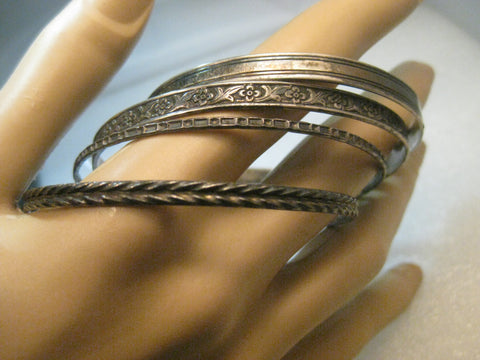 "Vintage 4 Sterling Silver Bangle Bracelets, 7.5"", 30.80 grams, 1950-1960's"