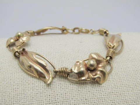 "Vintage 10kt Floral Bracelet, 1940's, Rose & Yellow  Gold, signed Aregel, 7.25"", 9.61gr."