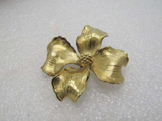 Vintage 14kt G.F. Dogwood Brooch, Signed Wells, 1960's, 1.75""