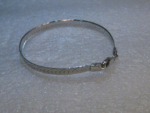 Sterling Silver 5mm Herringbone Bracelet, 7.07, signed maker and Italy