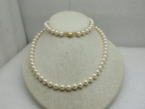 "Vintage Marvella 8m Pearl Necklace, 28"", Knotted Between Pearls"