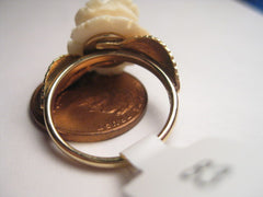 Vintage 14kt White Carved Rose Ring,  Sz. 6. Early 1900's-1940's