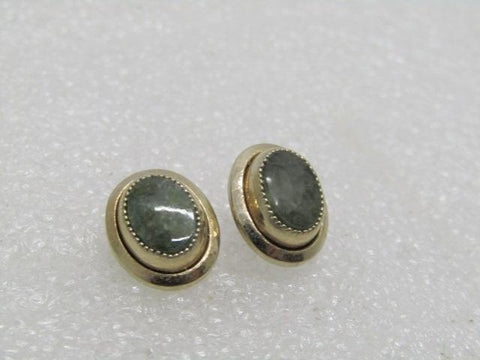 "Vintage Sarah Coventry 12kt G.F. Earrings, Green Agate, Pierced, 1/2"", 2.59gr"