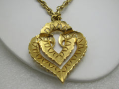 "Vintage Crown Trifari Layered Heart Pendant Necklace, 20"", 1970's"