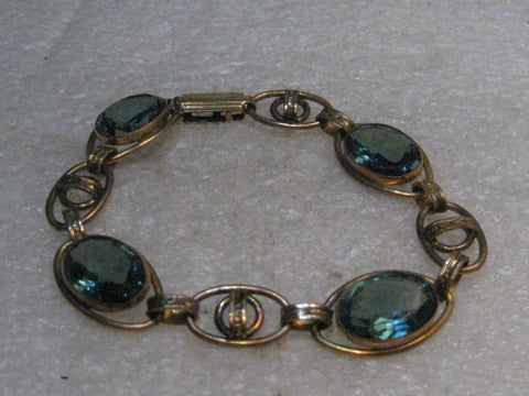 "Vintage Art Deco Blue Stone Bracelet, 7"" Gold Filled,  1940's, signed"