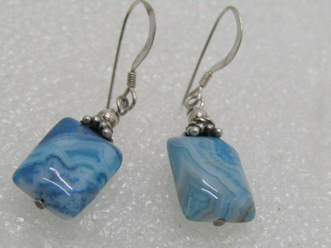 Sterling Silver Aqua Glass Earrings, Pierced, 3.64 gr. 1.5""