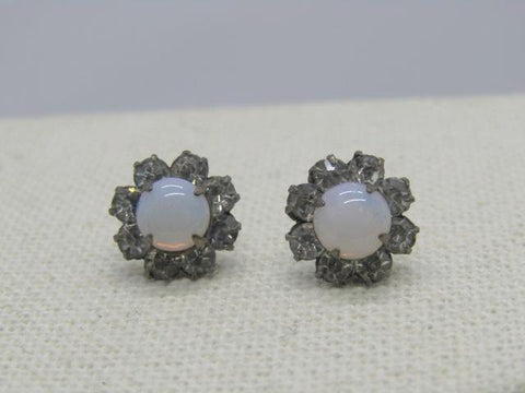 "Vintage Opal & Blue Rhinestone Earrings, Screw Post, 10kt Gold Clutches, 1/2"", 1920's-1930's"