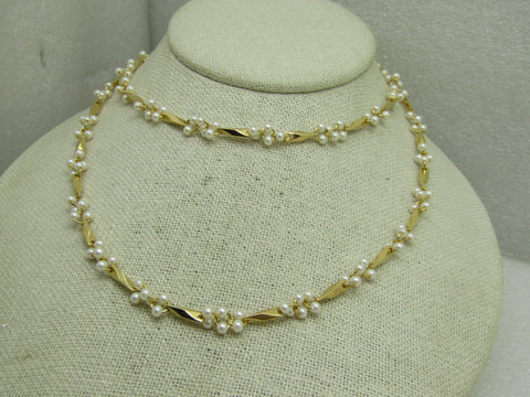 "Vintage Faux Pearl Cluster Gold Link Necklace, 28"", 1980's"
