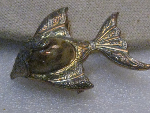 Vintage Damascene Angel Fish Brooch with Glass Stone, Spain, 1960's, 1.75""