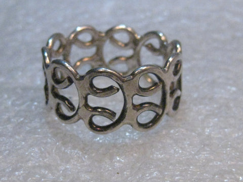 "Sterling Silver Wide Scrolled Ring, Size 10.5, 4.53 grams, 1/2"" wide, Post mid-century"