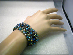 Copy of Joan Rivers Black Metal Filigree Teal & Blue Aurora Borealis Rhinestone Stretchy Bracelet