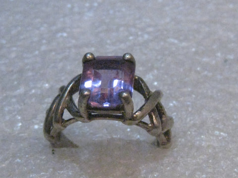 Sterling Silver Amethyst Ring, Emerald Cut, size 6, 1970's-1980's, Woven Band, BOHO too