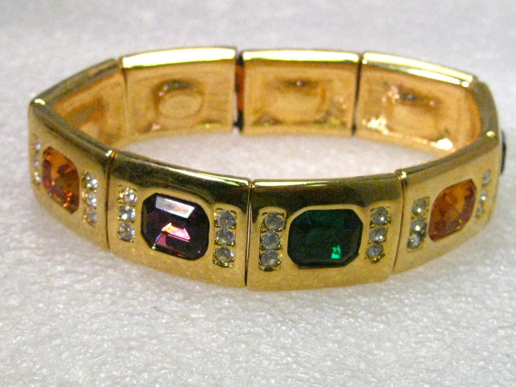 "Joan Rivers Gold Tone 7.5"" Faux Gemstone & Diamond Stretchy Bracelet"
