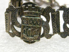 "Vintage Early 1900's Filigrane Depose Paris, France Souvenir Bracelet, 7.5"", Silver Plate"
