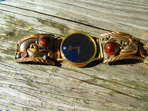 Vintage Sterling & 12kt G.F. Southwestern Watch Tips, Pulsar Watch, Iridescent Brown Stone, Feathers & Scrolls