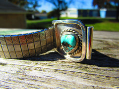 Vintage Southwestern Sterling Turquoise Watch Tips, with Silver Tone Stretch Band