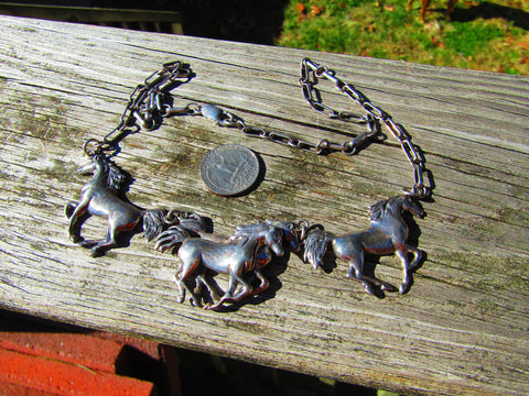"Vintage Sterling Silver Wild Horses Necklace, 22.5"" and 58.14gr"