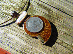 "Vintage Sterling Silver Fossil Ammonite & Pearl Necklace, 18"" Snake Chain, 1.44 ozt."