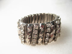 "Vintage Silver Tone Rhinestone and Ribbed 1"" wide Stretch Bracelet, Watchband Style, Stainless Steel - 6""-7.5"""