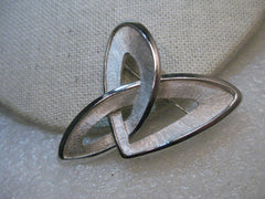 "Vintage Crown Trifari Modern Brooch, 2"", Shiny & Textured, Abstract, 1960's-1970's"