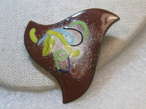 "Copper Enameled Abstract Brooch,  Pointed and Artsy, 2"", 1980's"