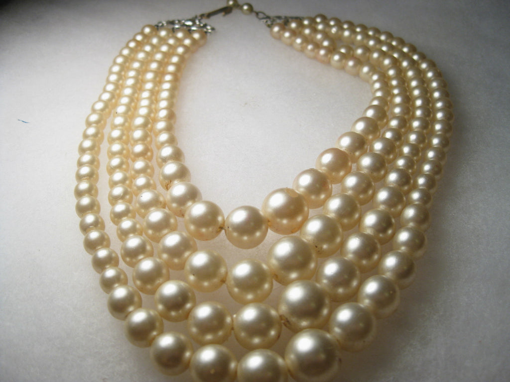 pendant pearl pearls product vendome rhinestone necklace faux drop vintage signed