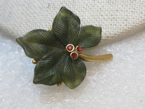 Vintage Joan Rivers Leaf Brooch, Red Rhinestone Accents. 1.5
