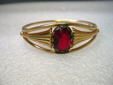 Vintage 1940's Art Deco Faux Ruby Hinged Clamper Bracelet, Signed Simmons, Gold Filled