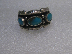 Southwestern Sterling Turquoise Band Ring, Vintage, Size 8.5, 6.04 grams, 1970's, Unisex