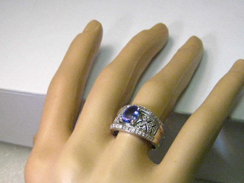 gold if blue twisted tanzanite ring white natural oval band solid engagement cut bands solitaire