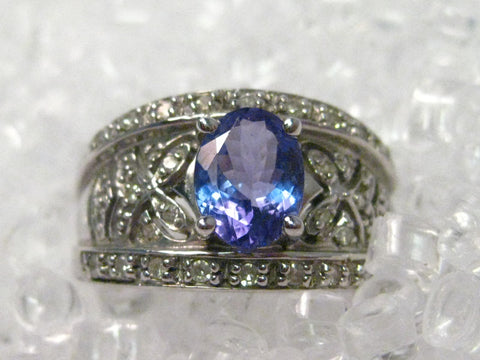 14kt White Gold Oval Tanzanite Floral Filigree Wide Band Ring w/28 diamonds, Size 7.25, Signed JCR (John C. Rinker)