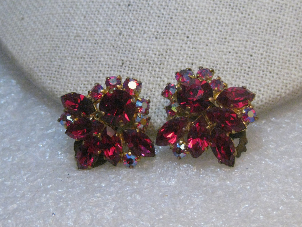 Austria Red Rhinestone Clip Earrings, 1950's, Marquis, Aurora Borealis, 1""