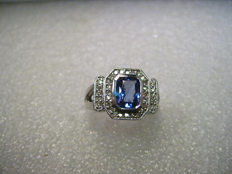 4kt White Gold 1 CTW Tanzanite & 33 Diamond  Tiered Halo Ring, Size 8.25, Signed SNB