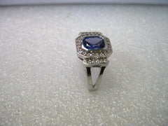14kt White Gold 1 CTW Tanzanite & 33 Diamond  Tiered Halo Ring, Size 8.25, Signed SNB