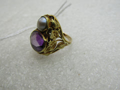 Vintage 14kt Amethyst and Pearl Ring, Sz. 2.5, 4.60 grams