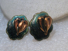 "Vintage Copper Heart Enameled Earrings, Screw Back, Modernist/Hipster -Teal/Black/Gold, 1"", 1980's"
