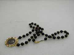 "14kt Ancient Roman Coin Necklace, 16"", Onyx & Gold Beads OFFERS ACCEPTED"