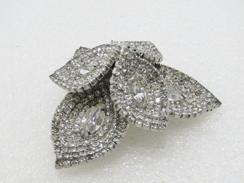 Rhinestone  Tiered Brooch, Kramer of New York, Silver Tone, over 2""
