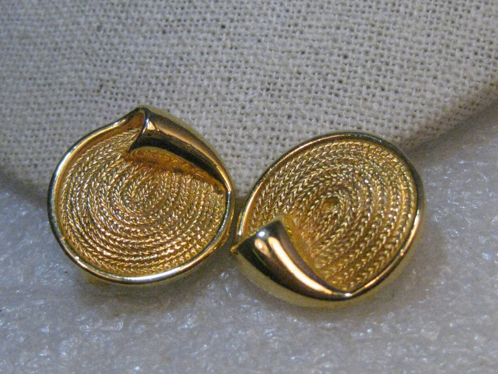 "Vintage BSK Woven Clip Earrings, Gold Tone, , 7/8"", curled accent, 1960's"