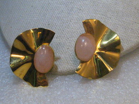 1980's Art Deco Clip Earrings, Peach Cabochon, signed La Booth, Wavy, Gold Tone
