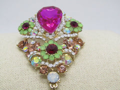 "Large Rhinestone Brooch With Dangle, Mint & Pink, A.B., 4"" Long"