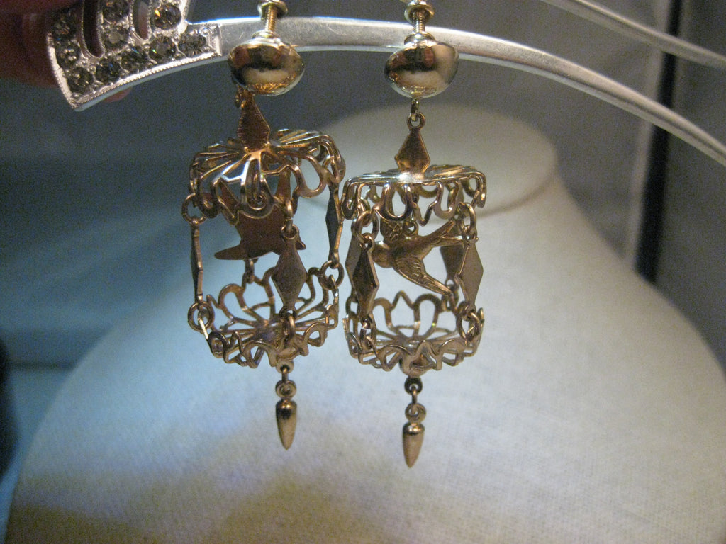 Vintage bird cage chandelier earrings screw back gold tone 1960s vintage bird cage chandelier earrings screw back gold tone 1960s with dangle aloadofball Image collections