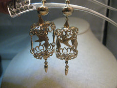 Vintage Bird Cage Chandelier Earrings, Screw Back, Gold Tone, 1960's with Dangle, 2.5""