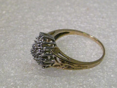 10Kt. Two-Tone Gold, Four-Tiered 33 Diamond Cluster Ring, Filigree Band, Sz. 10.25